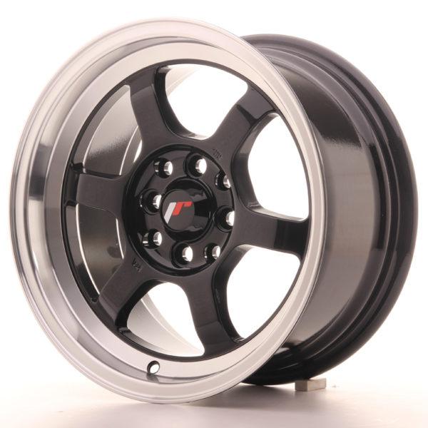 JR Wheels JR12 15x7,5 ET26 4x100/108 Gloss Black w/Machined Lip
