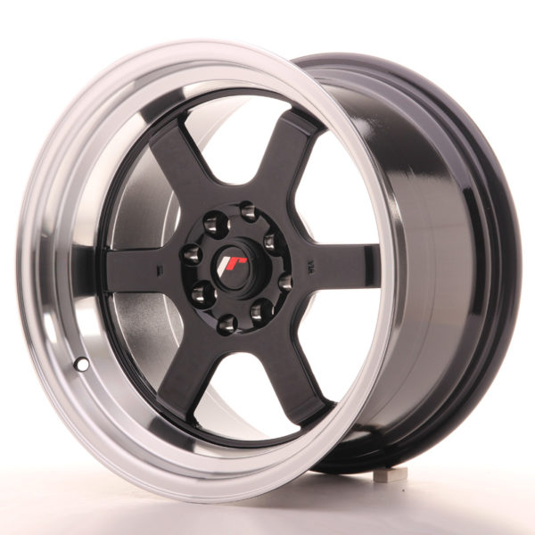JR Wheels JR12 16x9 ET10 4x100/114 Gloss Black w/Machined Lip
