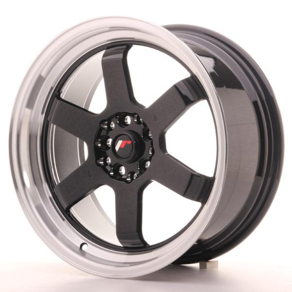 JR Wheels JR12 17x8 ET33 5x100/114 Gloss Black w/Machined Lip