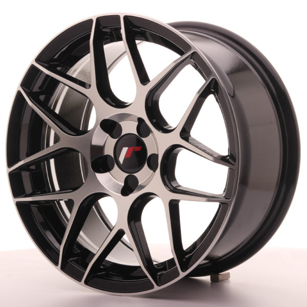 JR Wheels JR18 17x8 ET35 5H BLANK Gloss Black Machined Face