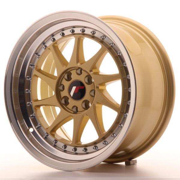 JR Wheels JR26 16x8 ET25 4x100/108 Gold w/Machined Lip