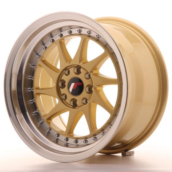 JR Wheels JR26 16x9 ET20 4x100/108 Gold w/Machined Lip
