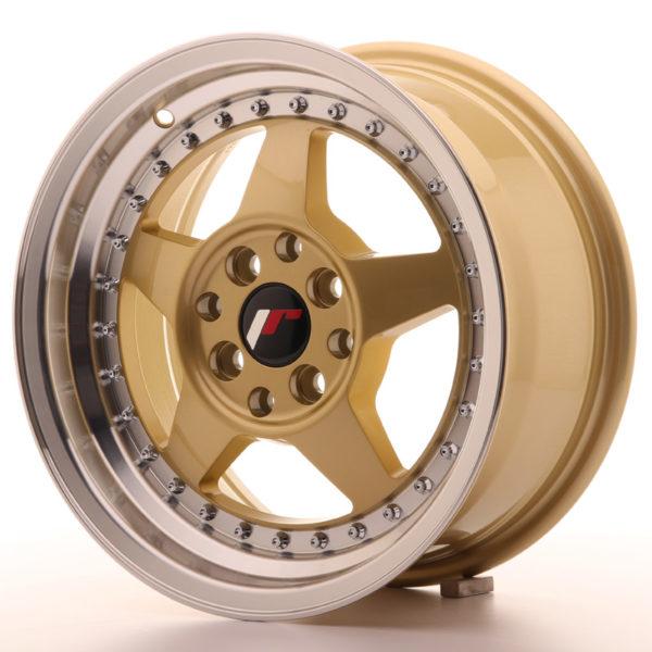 JR Wheels JR6 15x7 ET35 4x100/114 Gold w/Machined Lip