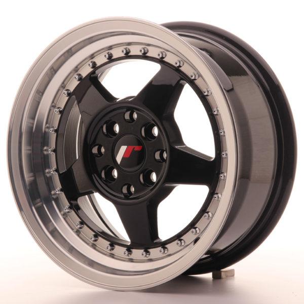JR Wheels JR6 15x7 ET25 4x100/108 Gloss Black w/Machined
