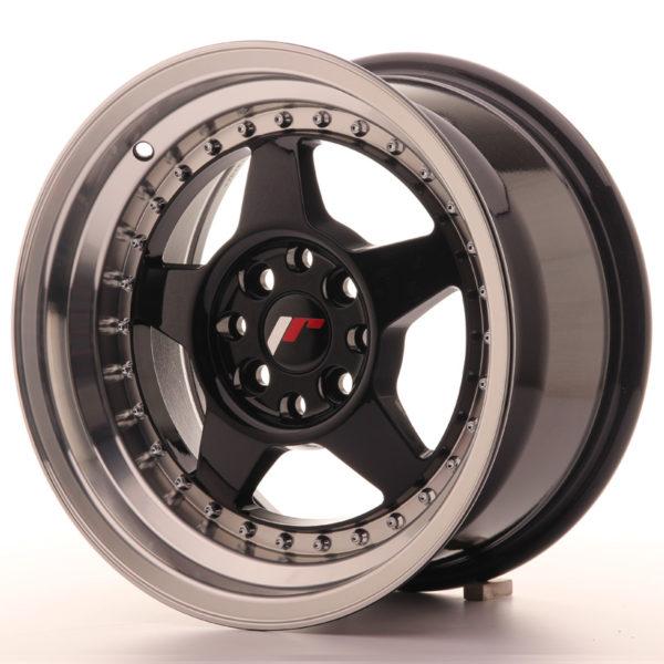 JR Wheels JR6 15x8 ET25 4x100/108 Gloss Black w/Machined