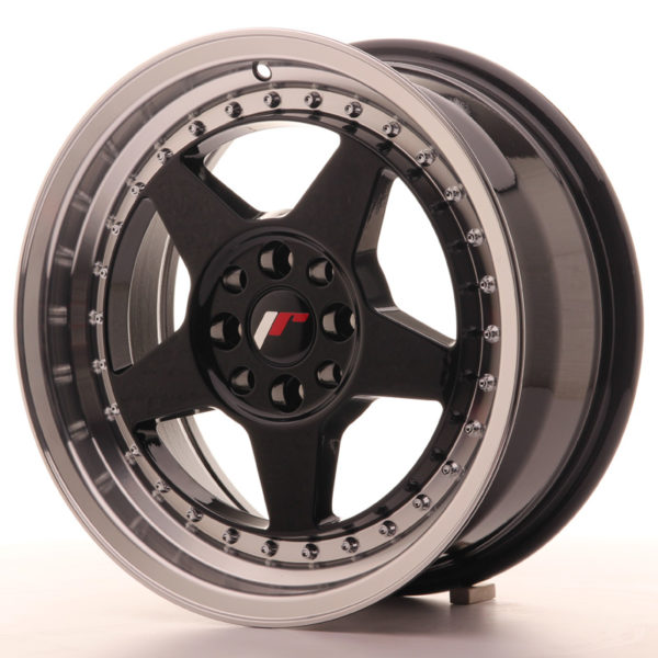 JR Wheels JR6 16x7 ET25 4x100/108 Gloss Black w/Machined