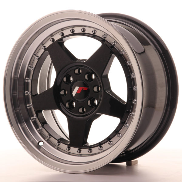 JR Wheels JR6 16x8 ET25 4x100/108 Gloss Black w/Machined