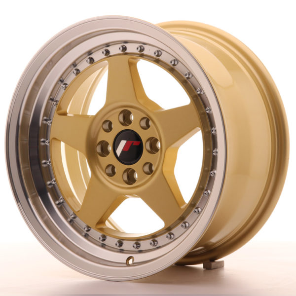 JR Wheels JR6 16x8 ET25 4x100/108 Gold w/Machined Lip