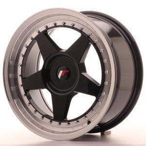 JR Wheels JR6 17x8 ET20-35 BLANK Gloss Black w/Machined