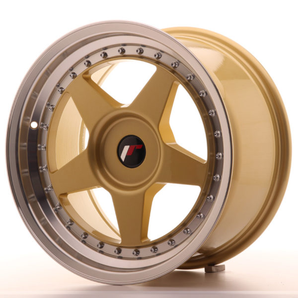 JR Wheels JR6 17x9 ET20-35 BLANK Gold w/Machined Lip