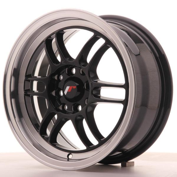 JR Wheels JR7 15x7 ET38 4x100/114 Gloss Black w/Machined Lip