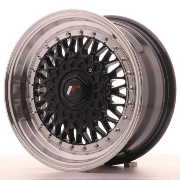 JR Wheels JR9 15x7 ET20 4x100/108 Gloss Black w/Machined Lip