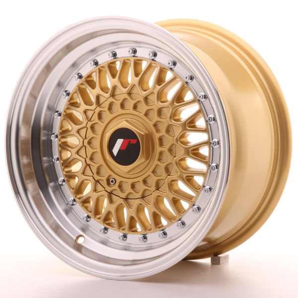 JR Wheels JR9 15x8 ET20 BLANK Gold w/Machined Lip