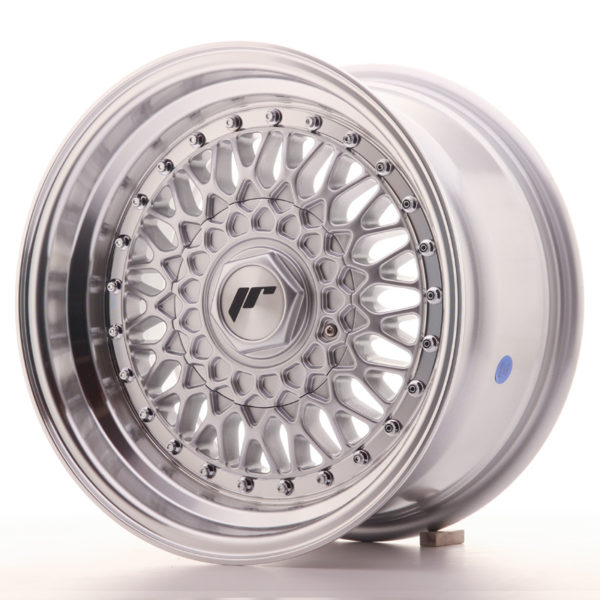 JR Wheels JR9 15x8 ET20 4x100/108 Silver w/Machined Lip+Silver Rivets